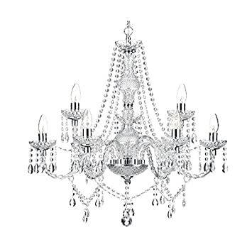 Saint Mossi Modern Contemporary Elegant Crystal Glass Chandelier Pendant Ceiling Lighting Fixture – 9 Lights