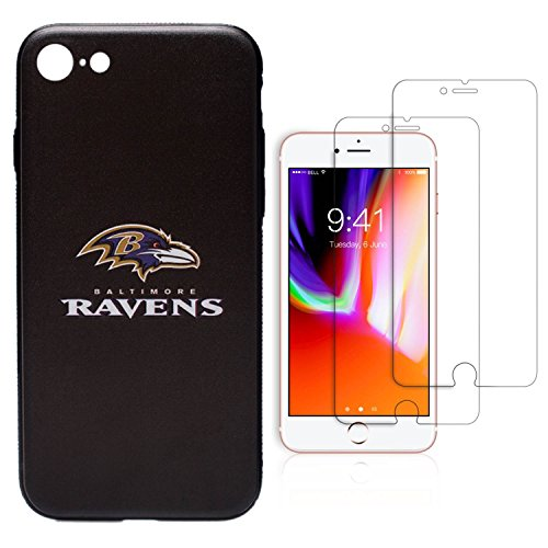 iPhone 8 case, iPhone 7 case, NFL Phone case, TPU/PC Dual Protection, Give 2 Tempered Glass Screen Protectors Extra Value Set (Baltimore - Baltimore Glasses