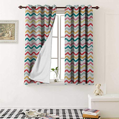 Striped Waterproof Window Curtain Pop Art Parallel Wavy Rough Lines Flush Brush Strokes Shaggy Groovy Boho Design Curtains for Party Decoration W84 x L72 Inch Multicolor