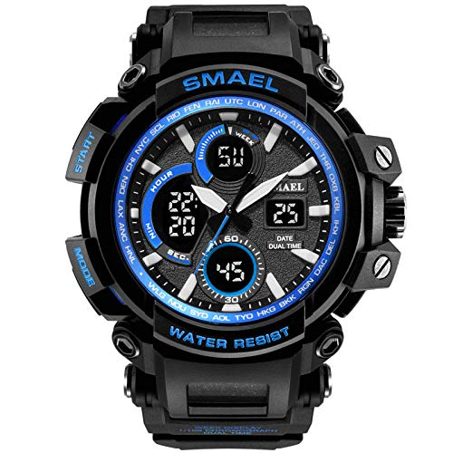 IAMUP SMAEL Men Sport Watch Casual LED Digital Rubber Strap Electronic Wristwatch Best Gift for Men Gray - Jersey Mesh Ride