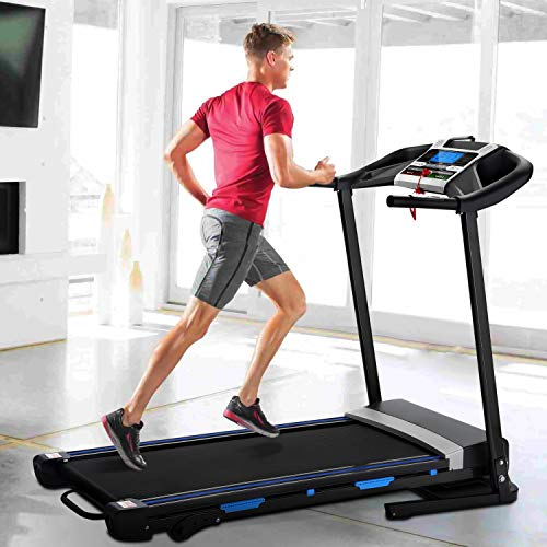 OOTORI Folding Treadmill, Automatic Incline Treadmill, Walking Running Jogging Running Machine with Blue Backlit LCD Display for Home & Gym Cardio Fitness