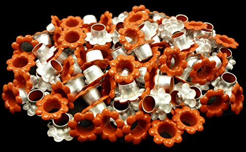 100pcs aluminium Orange Flowers EYELETS Scrapbooking CARD Hole LeatherCraft Snap Punch E060
