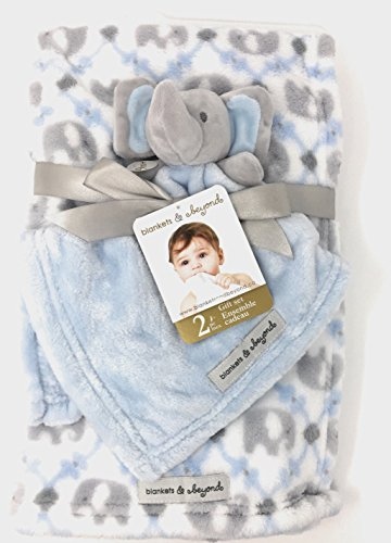 Blankets and Beyond 2 piece Blue White & Grey Tapestry Elephant Print Blanket with Plush Elephant Security Blanket