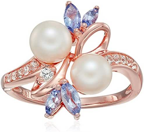 Sterling Silver with Pink Gold Plating Pearl, Tanzanite and Lab White Sapphire Ring, Size 7