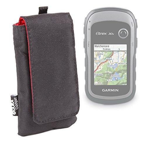 DURAGADGET Jet Black Cushioned SmartWatch Case / Pouch With Red Interior Lining For NEW Garmin eTrex 30x Handheld GPS Unit by DURAGADGET