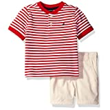 Nautica Baby Boys' Henley Shirt with Flat Front Short Set, Carmine, 18 Months