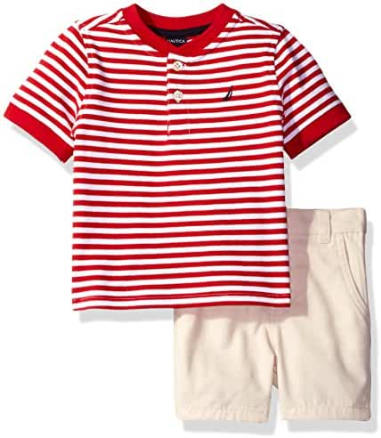 Nautica Baby Boys' Henley Shirt with Flat Front Short Set
