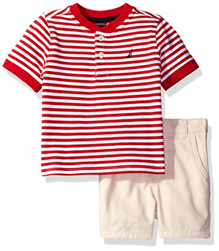 Nautica Baby Boys' Henley Shirt with Flat Front Short Set, Carmine, 0/3 Months