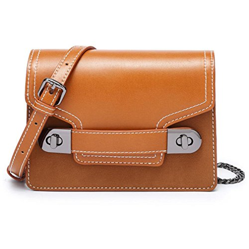 Oblique Shoulder Retro Bag Square Bag Ms Chain TINGTING Small Bag PU Orange 5nq8vZvxIA