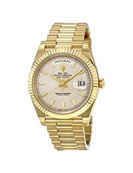 Rolex Day-Date Silver Diagonal Motif Dial 18kt Yellow Gold Men Watch 228238SSP