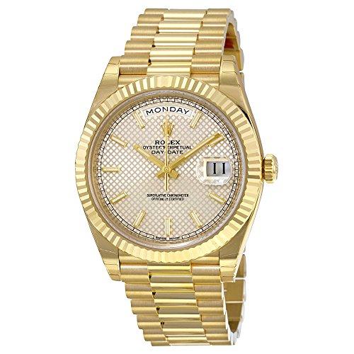 Rolex Day-Date Silver Diagonal Motif Dial 18kt Yellow Gold Mens Watch 228238SSP