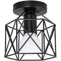 Artpad Vintage Loft Jaula de hierro negro Lámpara de techo LED 5W Luz de metal…