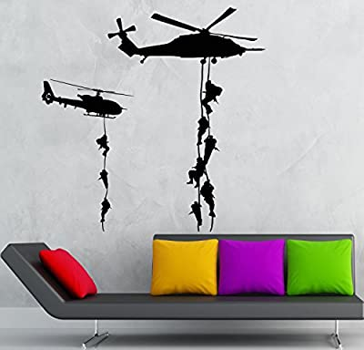 YINGKAI Helicopter Marines Military War Soldier Decal Living Room Vinyl Carving Wall Decal Sticker for Home Window Decoration