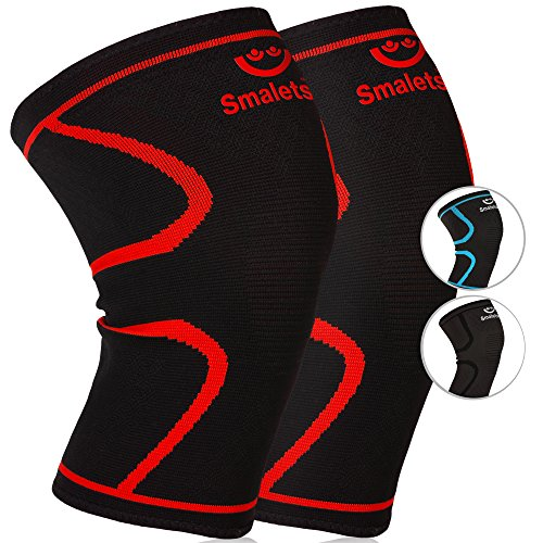 Smalets Compression Knee Support Sleeves (1 Pair) -Powerful Joint Protection for Cross Training, Weightlifting, Running & More Black M
