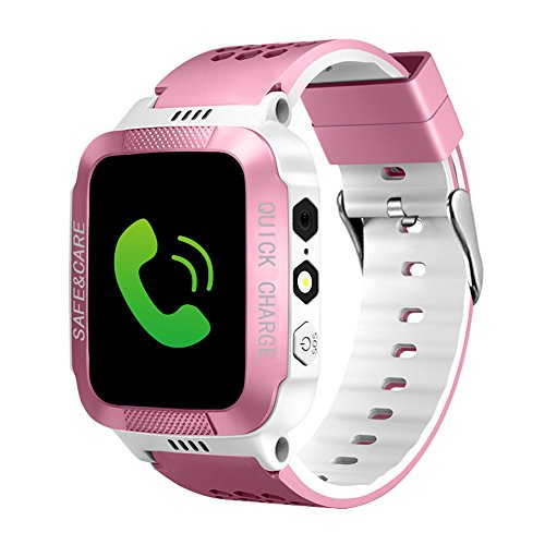 (Kids Smart Watches with GPS Tracker Phone Call for Boys Girls from ELE, Digital Wrist Watch, Sport Smart Watch, Touch Screen Cellphone Camera Anti-Lost SOS Learning Toy for Kids Gift (Pink&White))