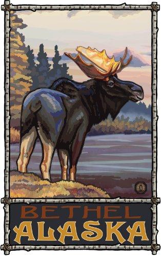Northwest Art Mall Bethel Alaska Moose in Meadow Artwork by Paul A. Lanquist, 11 by - Bethel Mall Park