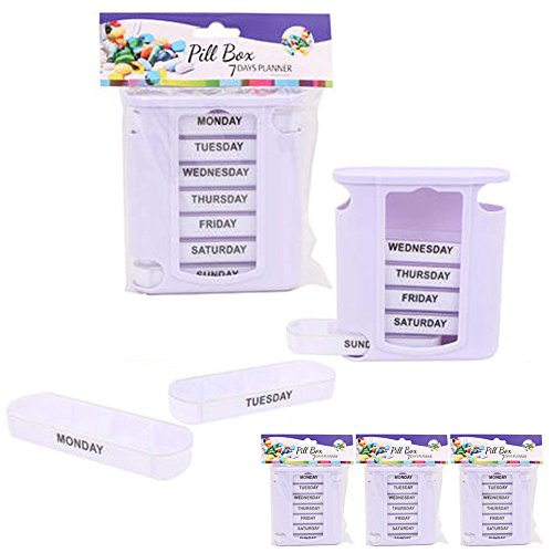 4 Pc Weekly Pill Box Organizer Storage 7 Day Medicine Travel Portable Container