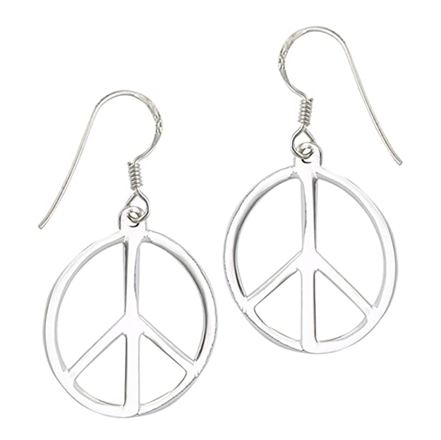 60s -70s Jewelry – Necklaces, Earrings, Rings, Bracelets High Polish Peace Sign Hippie Symbol .925 Sterling Silver Simple Dangle Earrings $12.89 AT vintagedancer.com