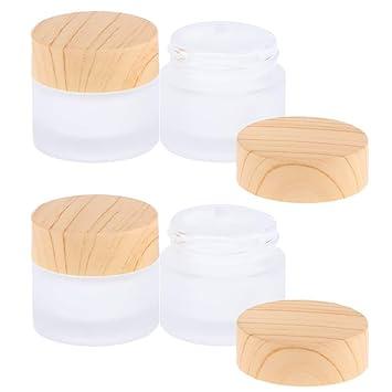 Salbentiegel B Blesiya 4 St/ück 5g Glas-Tiegel Leere Creme Glas-Dose Kosmetik-Dose Kosmetik Beh/älter mit Holz Schraubdeckel