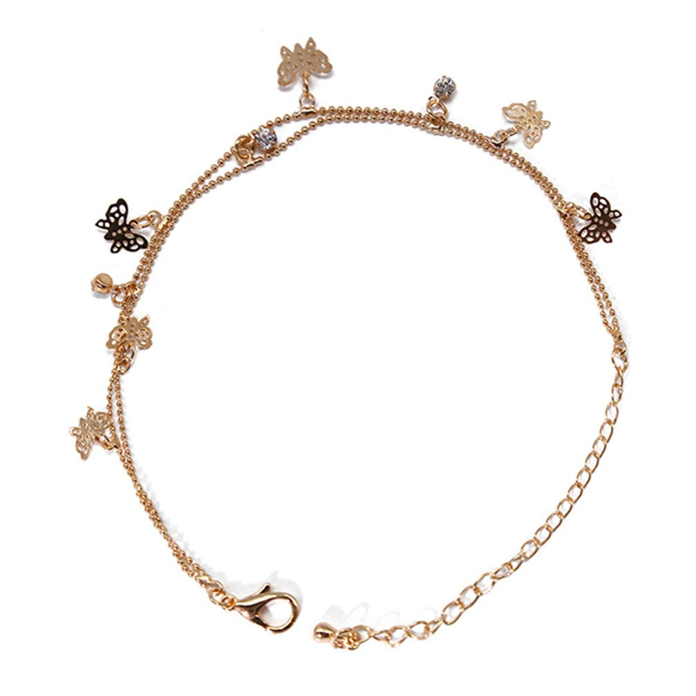 Myhouse Double-Layer Butterfly Alloy Foot Chain Sandal Beach Barefoot Anklet for Women Girls, Gold Color