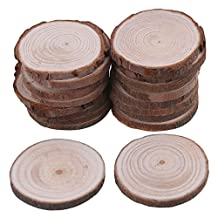 BQLZR 4cm-5cm Dia Natural Pine Wood Log Slices Unfinished Round Discs Tree Bark Wooden Circles for DIY Crafts Rustic Wedding Ornaments Pack of 20