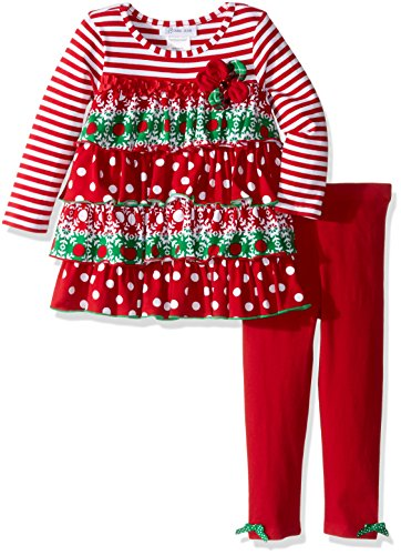 School Girl Outfit For Sale (Bonnie Jean Little Girls' Tiered Ruffle Legging Set, Red, 6)