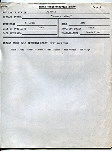 Topper-Photo Identification Sheet-Lot-8x10-B&W-Still (Photo Identification)