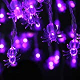 JOYLAMP Halloween String Lights,Spider Lights 30 LEDs Battery Powered Halloween Lights 13ft Halloween Decoration Lights with 8 Modes Waterproof (Purple)