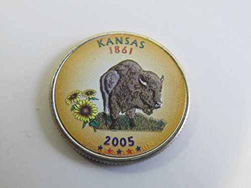 (2005 Various Mint Marks Kansas State Colorized Quarter Choice Uncirculated)