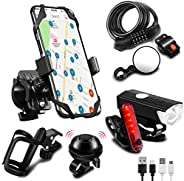 SODPE 7 Bicycle Accessories, USB Rechargeable Bicycle Light Set Plus Data Cable, Bicycle Password Lock, Bicycl