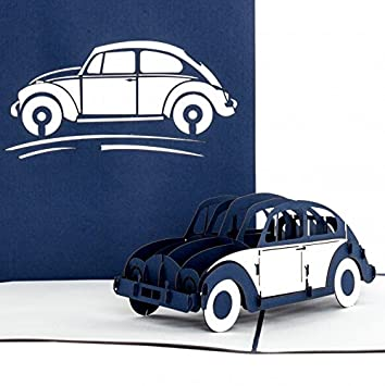 Pop Up Karte Vw Kafer Blau Weiss 3d Autokarte Karte Zum