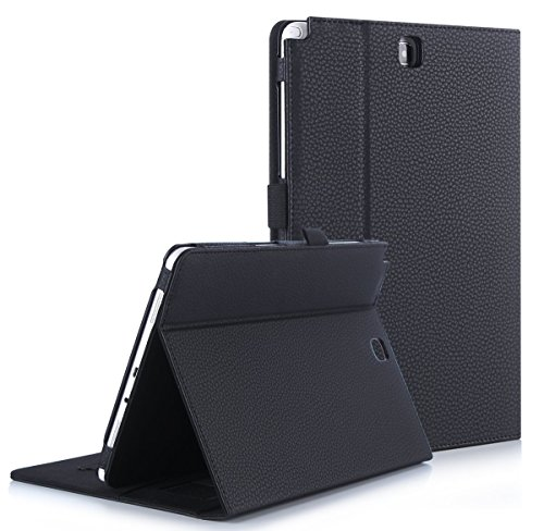 FYY Case for Samsung Galaxy Tab A 9.7 - Premium PU Leather Case Stand Cover with Card Slots, Pocket, Elastic Hand Strap and Stylus Holder for Samsung Galaxy Tab A 9.7 (P550) Black
