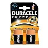 Duracell Mn1604 Plus Power Alkaline 9V Size Batteries (Pack Of 2)