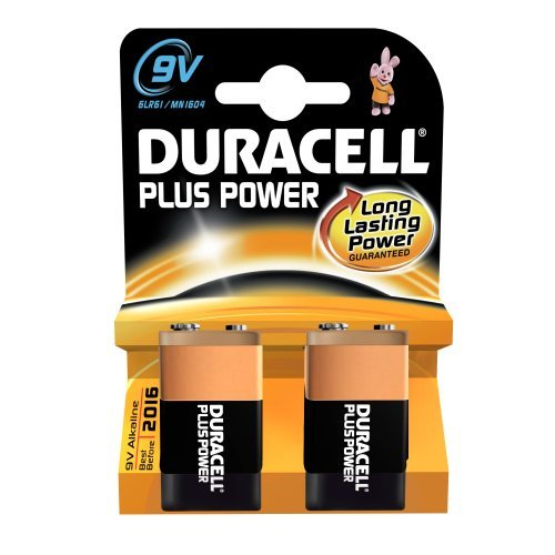 Duracell Mn1604 Plus Power Alkaline 9V Size Batteries (Pack Of 2) by Duracell