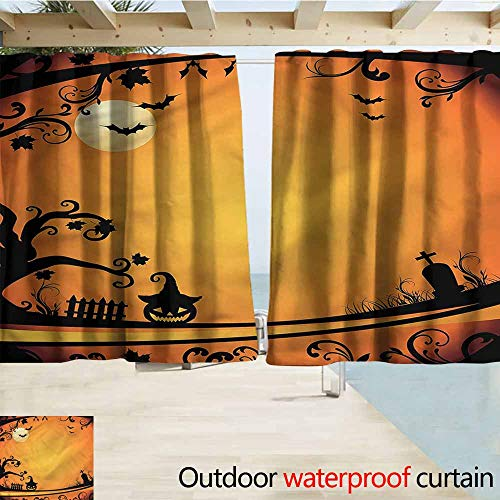 MaryMunger Rod Pocket Top Blackout Curtains/Drapes Vintage Halloween Grave and Pumpkin Simple Stylish Waterproof W55x45L Inches]()