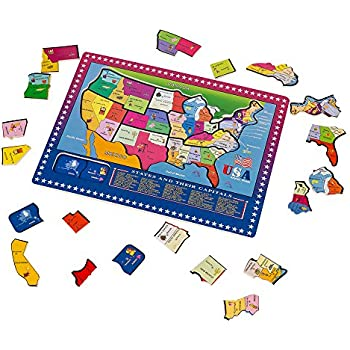 Amazoncom Melissa Doug USA Map Wooden Puzzle Pcs Melissa - Us map puzzle for toddlers