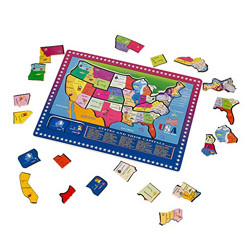 Wondertoys 21 Pieces Wooden USA Map Puzzle Educational Geography ...