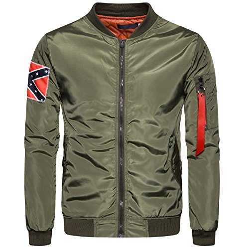 (Cottory Men's MA-1 Slim Fit Bomber Flight Jacket with Patches Rain Coat Green Large)