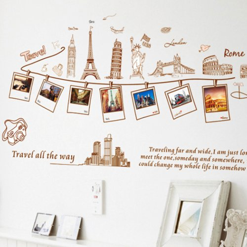 Sw Apple Accents (Uniquebella Wall Stickers PVC Removable European and American Architecture Photo Wall Decor 6090cm)