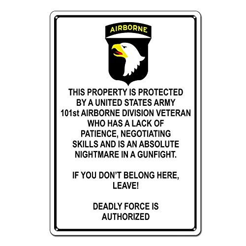 Property Protected by 101st Airborne Veteran U.S. Army Funny Tin Sign Metal Sign Metal Decor Wall Sign Wall Poster Wall Decor Door Plaque TIN Sign 7.8X11.8 INCH
