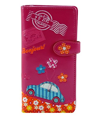 Shag Wear Monedero Holiday largo 3d relieve de 17 compartimentos