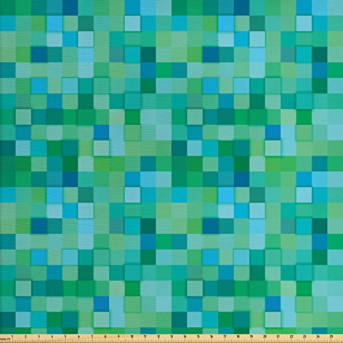 - Ambesonne Teal Fabric by The Yard, 3D Cube Pattern Abstract Squares Vibrant Colored Geometric Shapes Design Modern, Decorative Fabric for Upholstery and Home Accents, Sea Green Blue