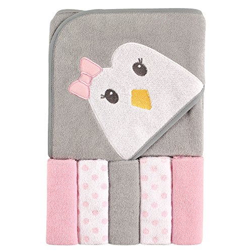 Luvable Friends Hooded Towel and 5 Washcloths, Penguin