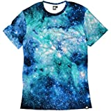 INTO THE AM Nebula Skies Men's Casual Tee Shirt (Large)