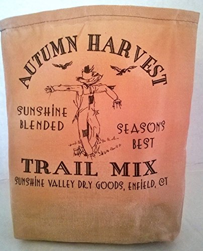 Feed 000 (000 – Autumn Harvest Trail Mix Fabric Feed Sack Luminary Bag with Country, Primitive, Vintage Image. Battery Operated Flickering Candle and Candle Holder Included.)