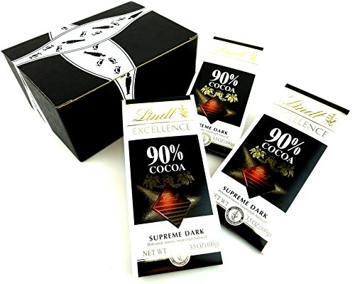 Lindt Excellence 90% Supreme Dark Chocolate, 3.5 oz Bars in a Gift Box (Pack of 3)