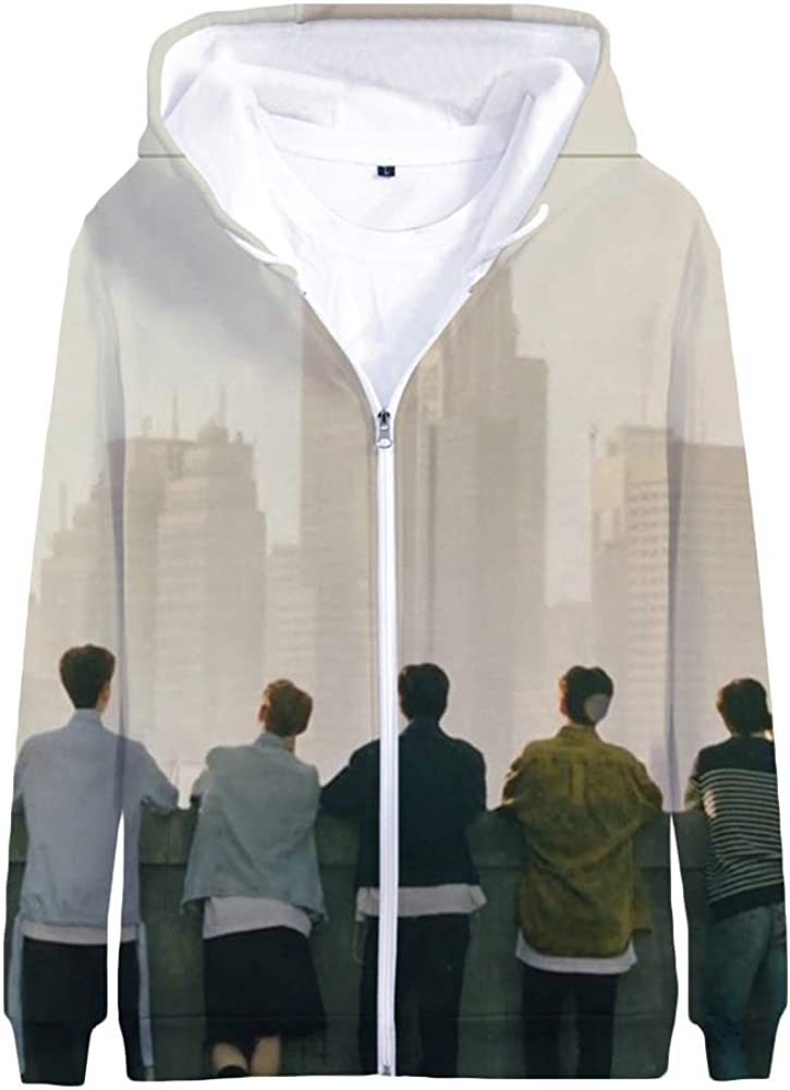 Stray Kids Pullover Spring Autumn Outerwear Stylish Printed Long Sleeve Tops with Zipper Coat Popular Unisex