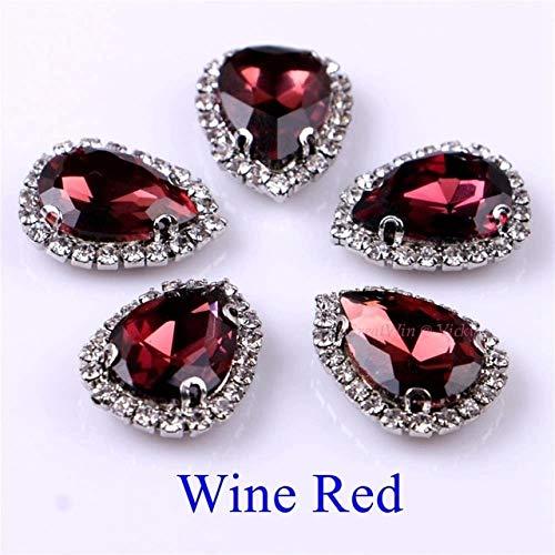 Shoppy Star Circled Rhinestone! Teardrop Shape Glass Rhinestones Diamond with Claw Sew On Strass Metal Base Buckle Crystal Stone 10pcs/Pack: Wine Red, 20x30mm
