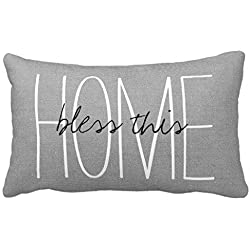 Standard Pillowcase Home Decorative Cushion Case Rustic Gray Bless This Home Pillow Cover 16x24 Inches