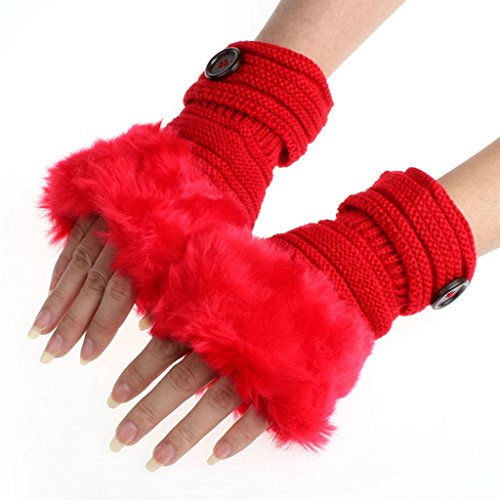 Gloves, Hatop Women Warm Winter Faux Rabbit Fur Wrist Fingerless Gloves Mittens (Red)